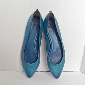 Frye Regina teal blue leather flats